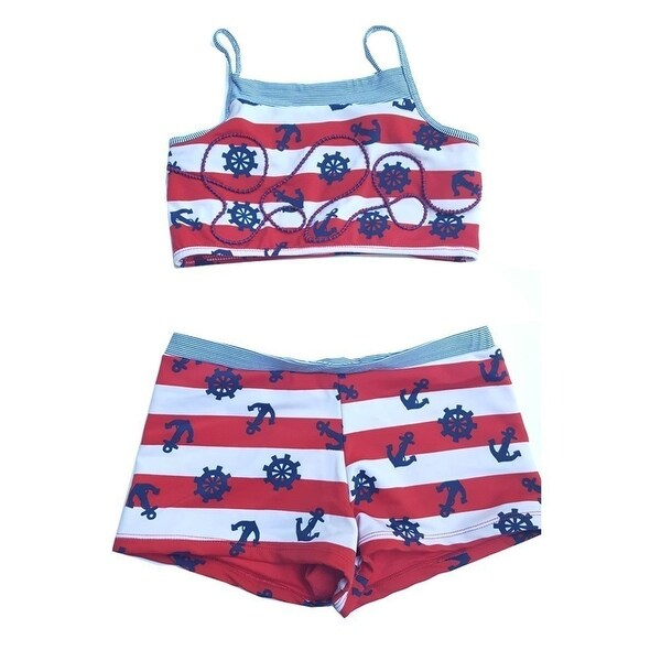 b028f8de63fa0 Shop Girls Red Navy Nautical Stripe Anchor All Aboard 2 Pc Tankini Swimsuit  - Free Shipping On Orders Over $45 - Overstock.com - 18171858