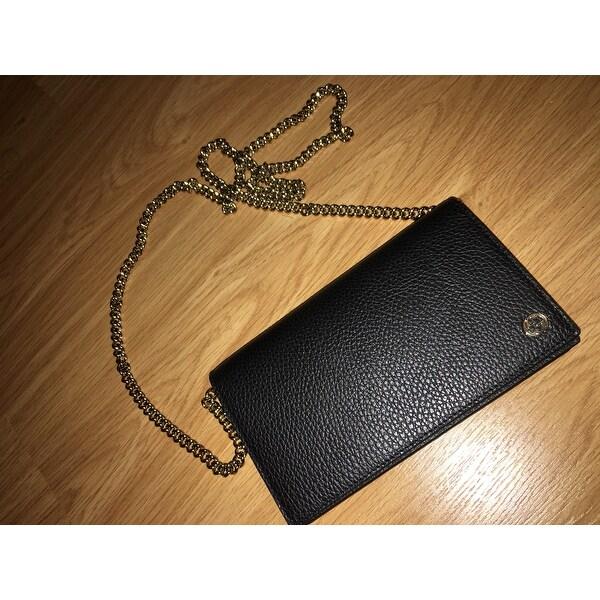 d069346d74e Shop Gucci 466506 Black Leather Interlocking GG Crossbody Wallet Bag Purse  - 8