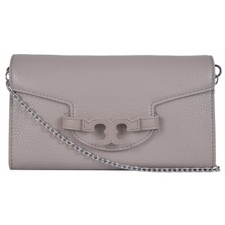 New Tory Burch Lena French Grey Leather Convertible Chain Handbag Clutch