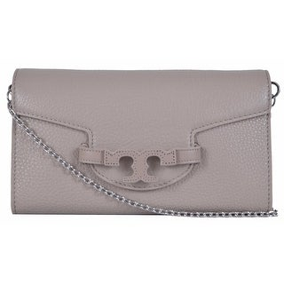 Tory Burch Lena French Grey Leather Convertible Chain Handbag Clutch