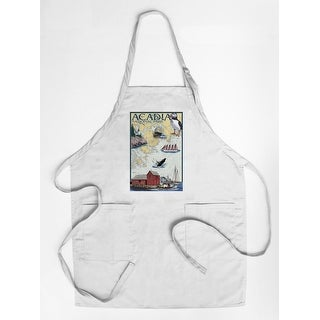 Acadia National Park, Maine - Nautical Chart - Lantern Press Artwork (Cotton/Polyester Chef's Apron)