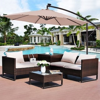 Costway 10u0027 Hanging Solar LED Umbrella Patio Sun Shade Offset Market W/Base  Beige