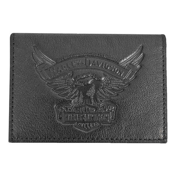 "Harley-Davidson Men's Eagle Embossed Leather Guesseted Card Case EE9089L-BLK - 4.25"" x 3"" x 0.5"""