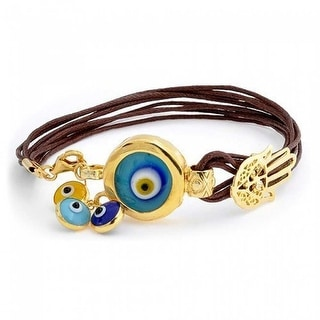 Bling Jewelry Gold Plated 925 Silver Evil Eye Charm Leather Bracelet 7in