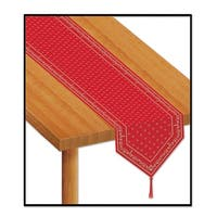 """Club Pack of 12 Red Printed Bandana Party Table Runners 11"""" x 6'"""