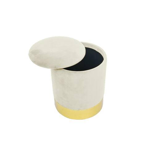 Modern Oliver Round Ivory Velvet Storage Ottoman