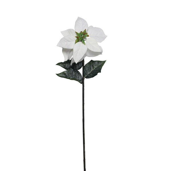 "28"" Winter White Artificial Poinsettia Stem"