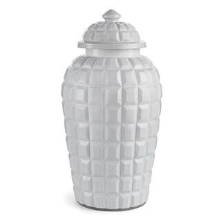 "23"" Ivory White Geometric Relief Decorative Jar With Decorative Lid"