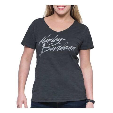 Harley-Davidson Women's Street High-Low Hem Short Sleeve V-Neck Tee, Gray