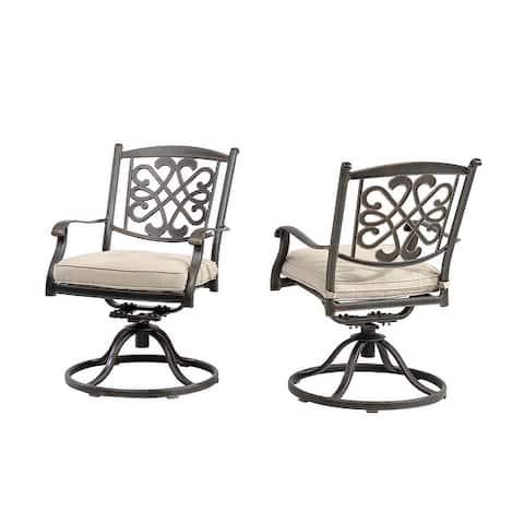 Set of 2 Cast Aluminum Flower-Shaped Backrest Swivel Chairs - N/A