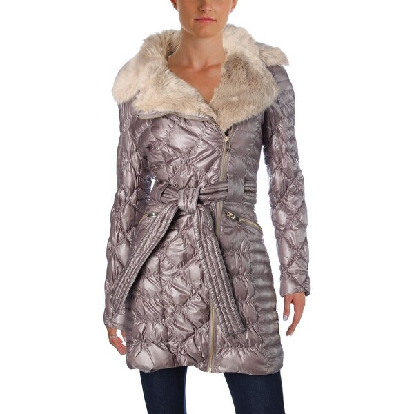 Shop Via Spiga Womens Puffer Coat Metallic Down Free