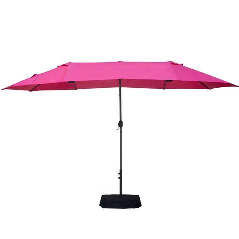 Metal Rectangular Patio Umbrella with Hanging Shade, Pink