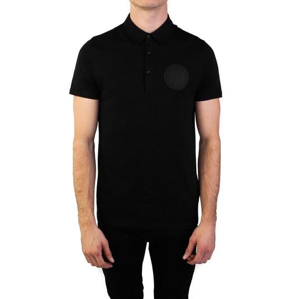 8d609315 Versace Collection Men's Pima Cotton Circular Medusa Polo Shirt Black