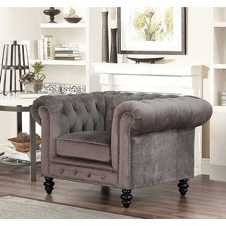 Link to Abbyson Grand Chesterfield Grey Velvet Armchair Similar Items in Living Room Chairs