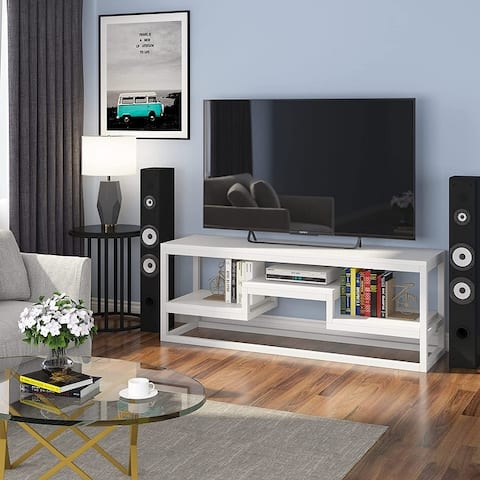 TV Stand for TVs up to 65 Inch, 3-Tier TV Console Table Entertainment Center with Storage, Steel Frame, for Living Room, Bedroom