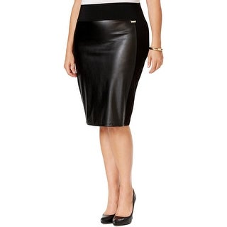 Calvin Klein Womens Plus Pencil Skirt Faux Leather Stretch
