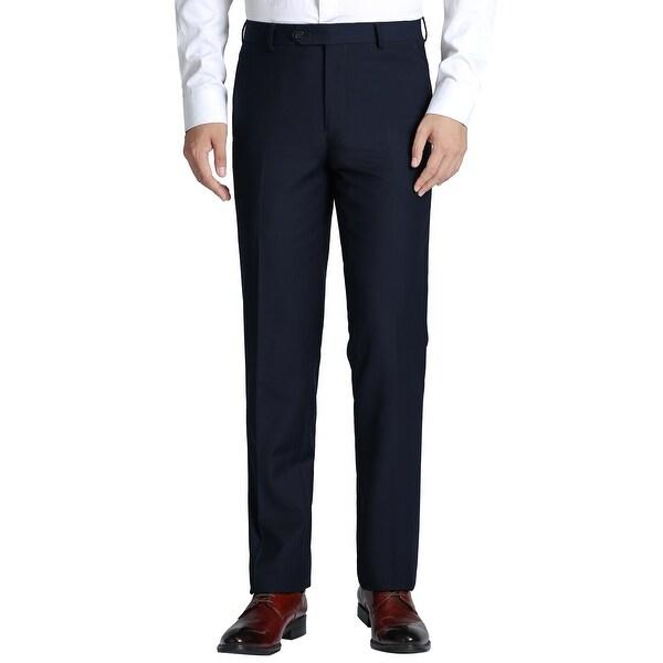 Mens Dress Pant Slim Fit Flat Front Suit Pant Formal Trouser for Men