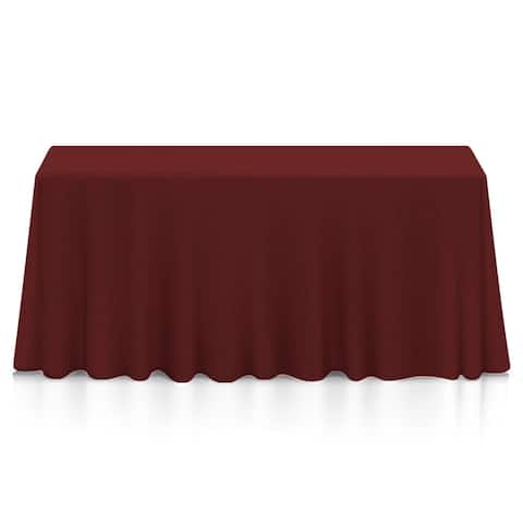 "90 x 132"" Premium Rectangular Polyester Tablecloth - Burgundy"