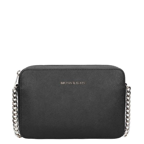 MICHAEL Michael Kors Jet Set East/West Large Crossbody - Black/Silver