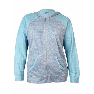 Style & Co. Women's Marled Raglan Hooded Zip Jacket - grey/aqua shell