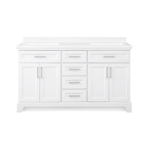 OVE Decors Winston 60 in. Double Sink Bathroom Vanity in White Finish and Power Bar