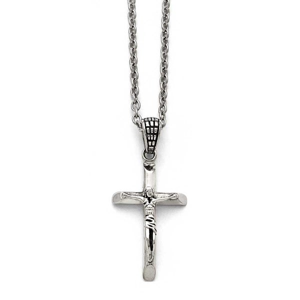Chisel Stainless Steel Polished and Antiqued Crucifix Necklace - 20 in