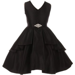 Flower Girl Dress Solid Dull Satin Overlay Black GG 3571