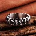 Vienna Jewelry Line of Skulls Stainless Steel Ring - Thumbnail 1