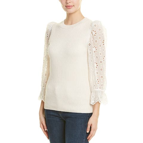 Rebecca Taylor Eyelet Sleeve Silk-Blend Pullover