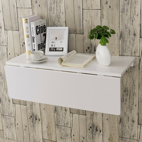 Shop Gymax Wall-Mounted Drop-Leaf Table Folding Kitchen ...