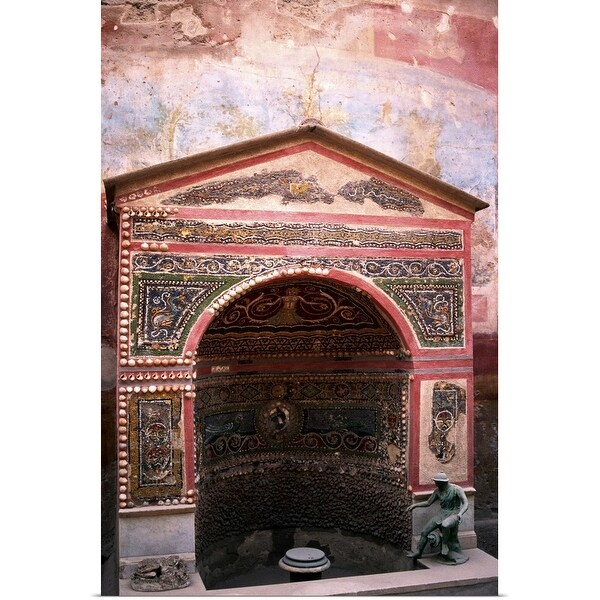 """""""Roman fountain decorated with mosaics, Pompeii, Italy"""" Poster Print"""