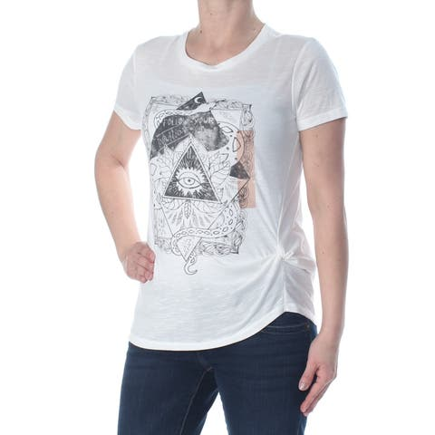 JESSICA SIMPSON Womens White Heather Follow Your Intuition Short Sleeve Crew Neck T-Shirt Top Size: XS
