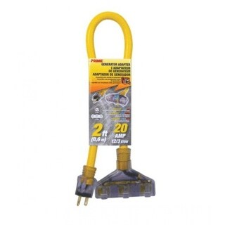 "Prime Wire & Cable GC130802 Generator Cord , 2', 30 Amp ""W"", Yellow"