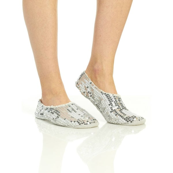 Capelli Women's Sequin Jersey Pull On Slipper Sock With Grippers