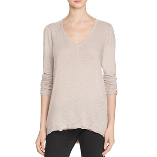 Free People Womens Anna Pullover Top V-Neck Burnout (Option: s - Taupe)
