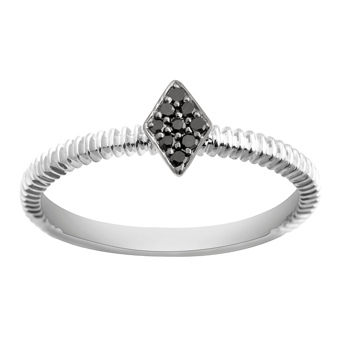 Prism Jewel 0.06Ct Round Black Diamond Stylist Ring - Thumbnail 0