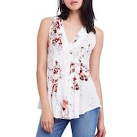 Free People White Womens Size Medium M Floral Print V-Neck Blouse
