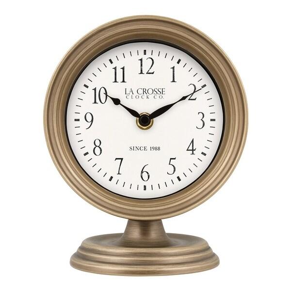 La Crosse Clock 404-3229A 7-Inch Mabel Metal Table Top Quartz Clock. Opens flyout.