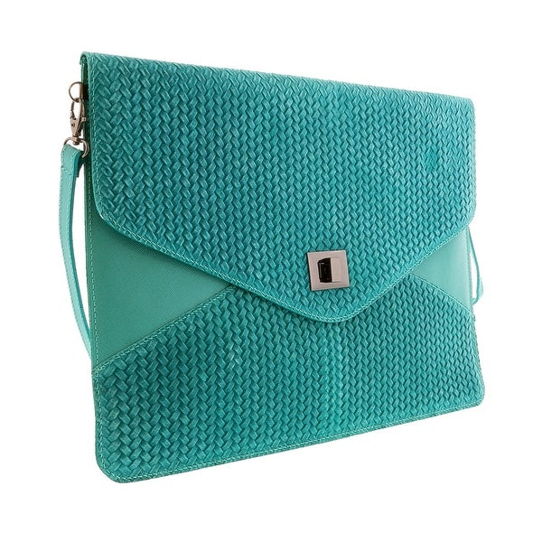 HS1154 TU FULVIA Turquoise Leather Clutch/Shoulder Bag - 15-10-1