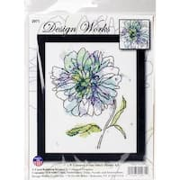 """Blue Floral Counted Cross Stitch Kit-8""""X10"""" 14 Count"""