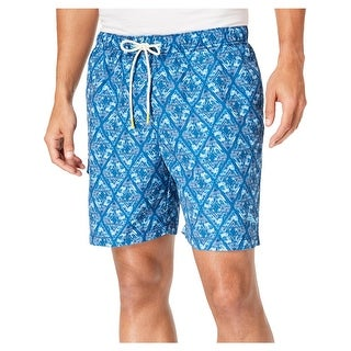 Tommy Bahama Mens Naples Deepwater Diamond Printed Beach Swim Trunks - L