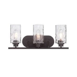 Designers Fountain 87103 Gramercy Park 3 Light Bathroom Fixture with Blown Hammered Glass Shades