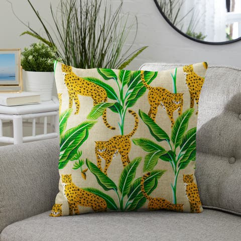 Yellow and Green Indoor/Outdoor Single Pillow, Knife Edge