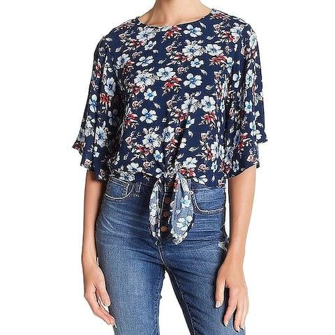 Elodie Blue Floral Printed Tie Waist Women's Size XL Blouse Top