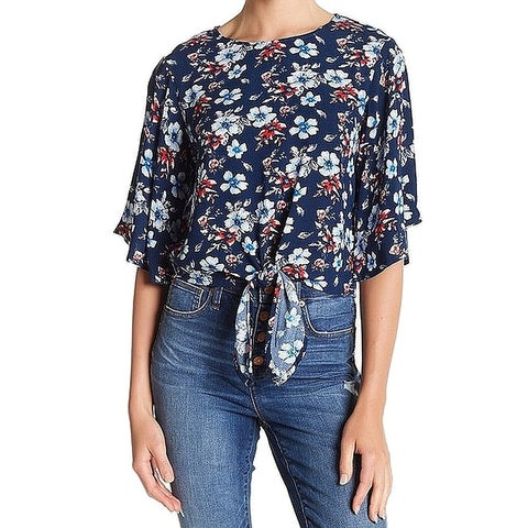 Elodie Blue Women's Size Medium M Floral Printed Tied-Hem Blouse