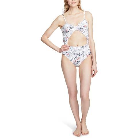 Rachel Rachel Roy Womens Floral Print Front Tie One-Piece Swimsuit - White Floral