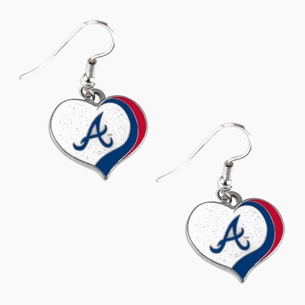 bb54e82f045 Shop Atlanta Braves Mlb Glitter Heart Earring Swirl Charm Set - Free  Shipping On Orders Over $45 - Overstock - 23508756