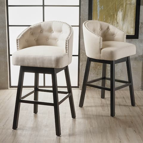 Kenzo Fabric Swivel Barstools (Set of 2) by Christopher Knight Home