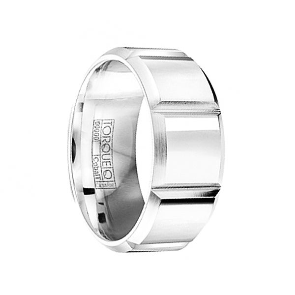 Horizontal Grooved Polished Cobalt Wedding Ring with Brushed Edges by Crown Ring - 9mm