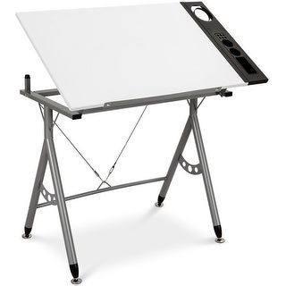 Gymax Adjustable Drafting Table Art & Craft Station Drawing Desk Folding w/ Side Tray